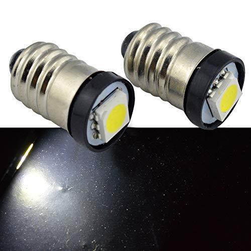 Ruiandsion 10 x E10 ampoules LED 20lm 5050 Chipsets 0,5 W DC 3V Blanc ampoules LED pour Torchlight lampe de poche Auto éclairage Intérieur Tableau de bord Indicatior lumière lampe de tableau de bord