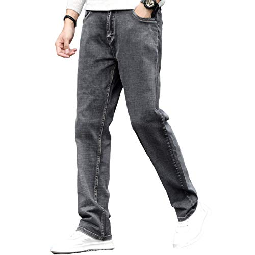 Herenjeans Zomer Dunne Losse Jeans met rechte pijpen Business Casual Wijde pijpen Stretchjeans met hoge taille 44