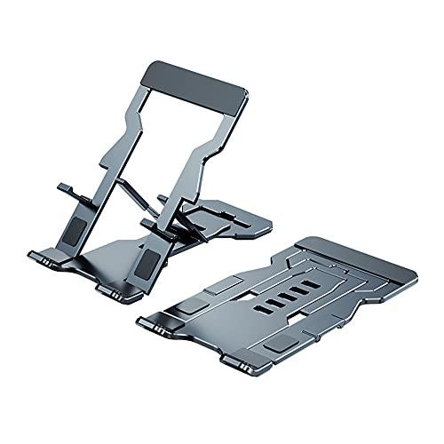 Docooler Tableta para Teléfono Móvil Portátil Soporte de Aleación de Aluminio Soporte para Teléfono Plegable Ajustable de 5 Niveles Soporte para Teléfono Ultradelgado Gris