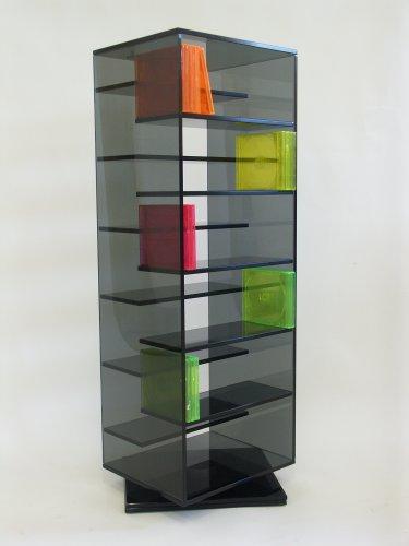 Paul Snajdar Glasregal JANUS 95 cm drehbar CD-Turm CD-Ständer CD DVD Blu-ray disc Schwarzglas