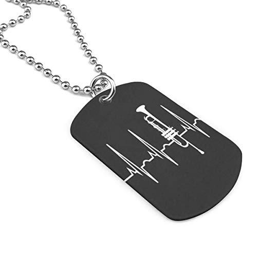 90ioup Trompete Herzschlag Militär Halskette Dog Tag Edelstahl Kette Anhänger Schlüsselanhänger, Zinklegierung, weiß, Einheitsgröße
