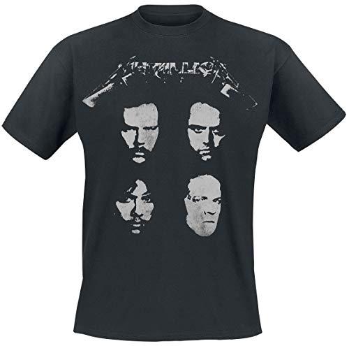 Metallica 4 Faces Hombre Camiseta Negro S, 100% algodón, Regular