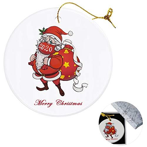 Klurent Christmas Ornament Santa Hanging Decor, Xmas Personalized 2020 Quarantine Theme Creative Hanging Santa Decorations, Xmas Tree Ornaments Hanging Pendants, Christmas Party Gift.