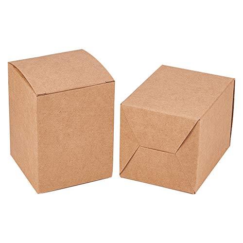 BENECREAT 60 STÜCKE Geschenkboxen Braune Papierboxen Party Favor Boxen mit Deckel für Geschenkverpackung, Hochzeitsfeierbevorzugungen, 8 x 6 x 6 cm