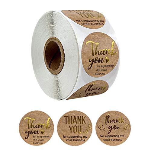 YFairy 500 Stück/Rolle Thank You for Support My Small Business Kraft-Aufkleber Goldfolie – kann auf Grußkarten, Blumensträußen, Paketen, Süßigkeitenbeuteln, Geschenkverpackungen aufgeklebt werden
