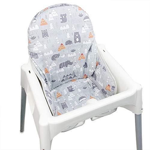 ZARPMA Sitzbezüge für IKEA Antilop Hochstuhl, Oberfläche aus Baumwolle und Baumwolle gepolstert, Waldmuster, faltbar, Baby Hochstuhlbezug(Grauer Wald)