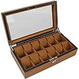 Inicio Accesorios Caja de reloj Almacenamiento de joyas Caja grande de madera para relojes con tapa de vidrio Cerradura Almohada Muñeca para hombres / mujeres Relojes de pulsera Joyas Colecciones d