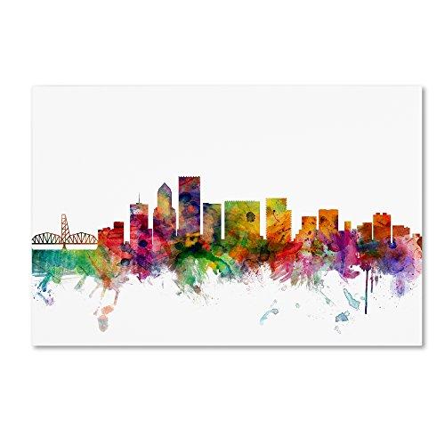 Portland Oregon Skyline by Michael Tompsett, 22x32-Inch Canvas Wall Art
