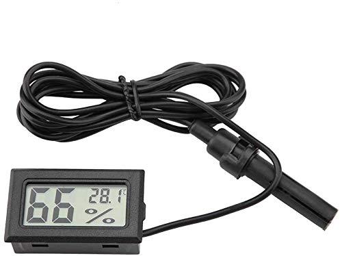 DollaTek 2-en-1 Digital LCD Embedded termómetro higrómetro con Externo para Reptiles Incubadora Acuario Aves - Negro