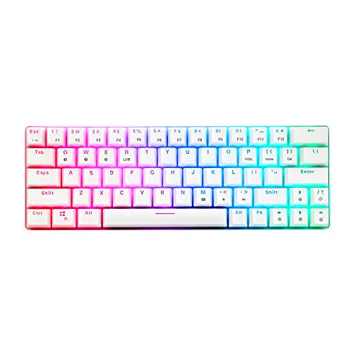 CQ63 Wireless Mechanical Gaming Keyboard, True RGB Backlit, Bluetooth 5.0, Red Switches, 63 Keys, Wired 60% Keyboard for iPhone iPad Android Mobile PC Laptop