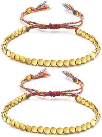 Wremily 2 Pcs Tibetan Copper Bead Bracelet Set Handmade Braided Cotton Bracelet Lucky Rope Bracelet product image