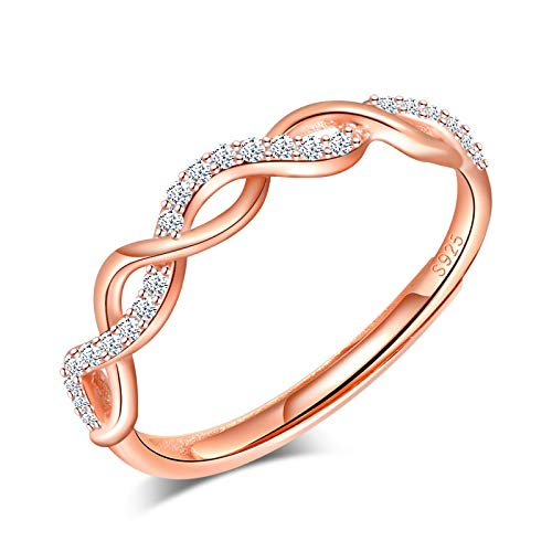 Yumilok Anillo de plata 925, anillo ajustable para mujer y niña, anillo de compromiso abierto, anillo con símbolo de infinito, circonita cúbica con incrustaciones, tamaño ajustable