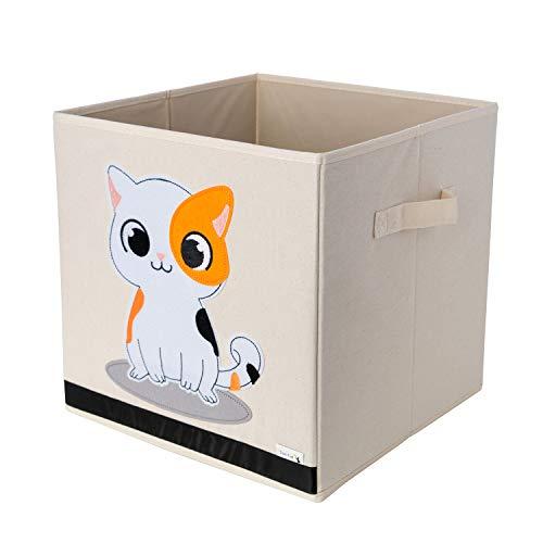 Boîte de Rangement / Cube / Organiseur - Design de chat - 33x33x33cm - Convient aux étagères de rangement multiples - La boîte de rangement d'animal parfaite pour enfants par Sun Cat