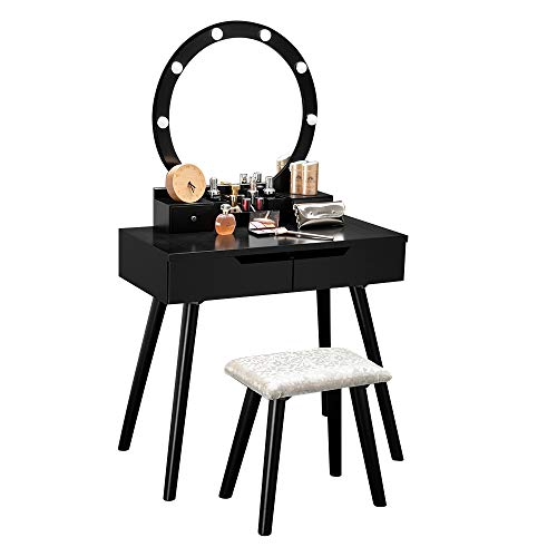Bonnlo Vanity Table Set with Lighted Mirror Round Makeup Vanity Table with 8 Light Bulbs and Touch Switch,Bedroom Dressing Table with Cushioned Stool (Black)