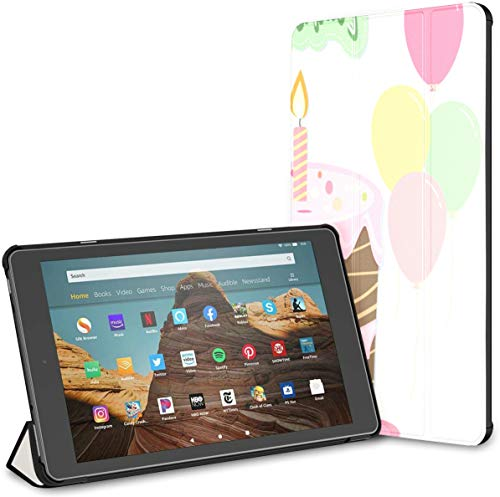 Case for All-New Amazon Fire Hd 10 Tablet (7th and 9th Generation,2017/2019 Release),Slim Folding Stand Cover with Auto Wake/Sleep for 10.1 Inch Tablet, Cake Balloon Greeting Card Happy Birthday