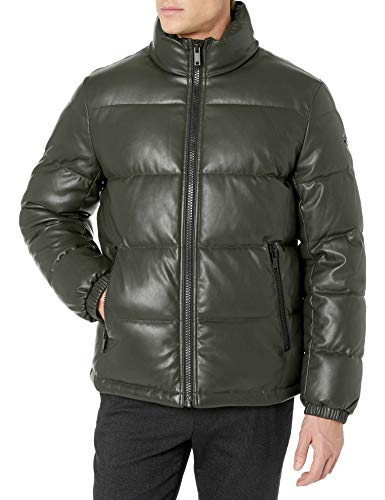 DKNY Men's Faux Leather Quilted Ultra Loft Puffer Jacket, Dark Olive, Large