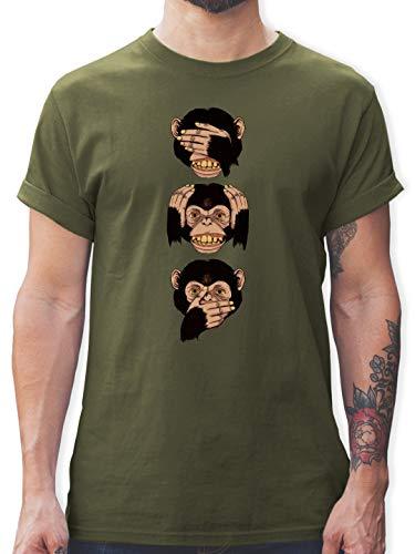 Sprüche Statement mit Spruch - DREI Affen - Sanzaru - M - Army Grün - DREI affen t-Shirts - L190 - Tshirt Herren und Männer T-Shirts