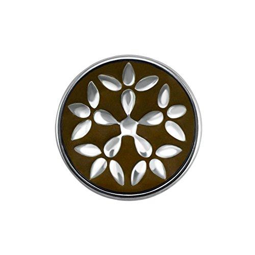 Preisvergleich Produktbild Quiges Damen Click Button 18mm Chunk Versilbert Blumen Braun für Druckknopf Zubehör
