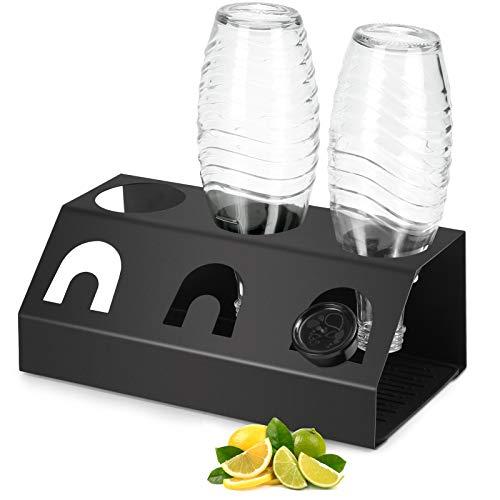 Zovator Escurridor de Botellas de Acero Inoxidable para Botellas SodaStream Crystal y Emil con Bandeja de Goteo Extraíble, Soporte para La Tapa para Escurridor de Botellas de Soda
