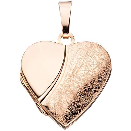 Jobo, ciondolo portafoto a forma di cuore, apribile, per 2foto, in argento 925placcato oro rosa