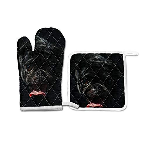 Juego de 2 manoplas de horno y soportes para ollas, guantes de...