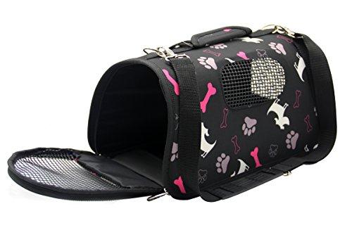 BPS® BPS-5637N - Trasportino in tessuto per animali domestici, cani e gatti, 3 misure S/M/L a scelta (M, nero)