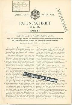 Patentschrift Nr. 142894. Klasse 6 b: Heiz- und Kühlschlangen mit zwei oder mehreren ineinander liegenden beweglichen Ringen für Vormaischbottiche mit zwischen den Schlangen kreisenden Rührflügeln.