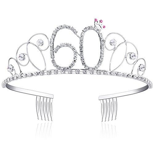 BABEYOND® Kristall Geburtstag Tiara Birthday Crown Prinzessin Kronen Haar-Zusätze Silber Diamante Glücklicher 18/20/21/30/40/50/60 Geburtstag (60 Jahre alt)