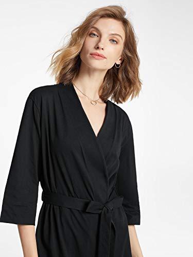 SIORO Robe Women's Kimono Robe Soft Cotton Robes Knit Bathrobe Lightweight Loungewear V-Neck Sexy Sleepwear Ladies Pajamas Short Nightshirts Black L