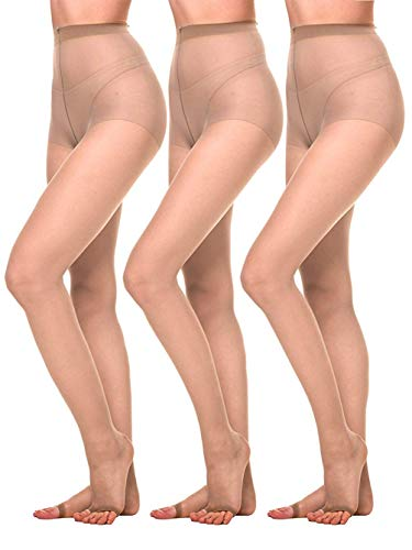 Amoretu Women Sheer Pantyhose Ultra Soft 12D Open Toe Tights 3 Pairs(Nude,S)