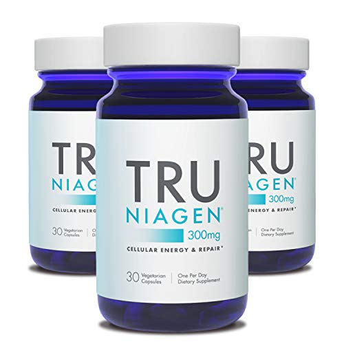 TRU NIAGEN NAD+ Booster for Cellular Repair & Energy Metabolism (Nicotinamide Riboside) - 300mg Vegetarian Capsules, 300mg Per Serving - 30 Day Bottle (3 Pack)