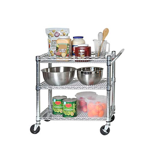 "Seville Classics 3-Tier UltraDurable Commerical-Grade Heavy-Duty NSF-Certified Service Utility Storage Cart, 33.75"" W, Chrome"