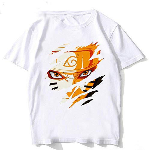 Miwaimao Men's Short-Sleeved T-Shirt Printing Tide Japanese Harajuku Anime Ninja Loose and Comfortable Elastic Breathable Summer Large Size T-Shirt,PSM20104,S