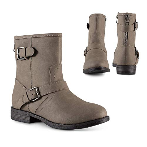 Twisted Amira Women's Ankle Boots, Zipper & Buckle, Low Heel Ladies Bootie Shoes, Grey, Size 9