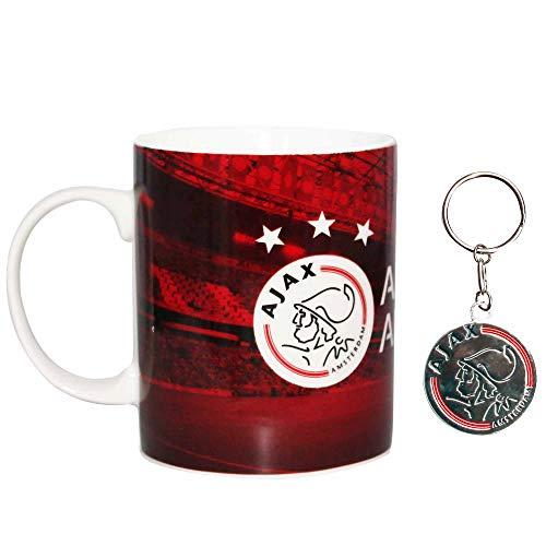 Juego de taza y llavero de cerámica oficial de AFC Ajax Amsterdam Football Crest de 325 ml