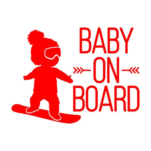 YSHtanj Auto Sticker Externe Decoratie Auto Sticker 16x12cm Baby ON Board Snowboard Waterdichte Auto Styling Window Sticker Sticker Decal - Geel