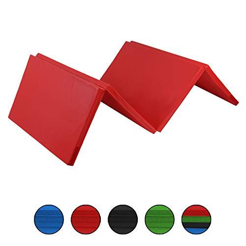 ALPIDEX Klappbare Gymnastikmatte Turnmatte für zuhause 240 x 120 x 5 cm für Kinder und Erwachsene - mit Klettecken, 3fach klappbar, Farbe:rot