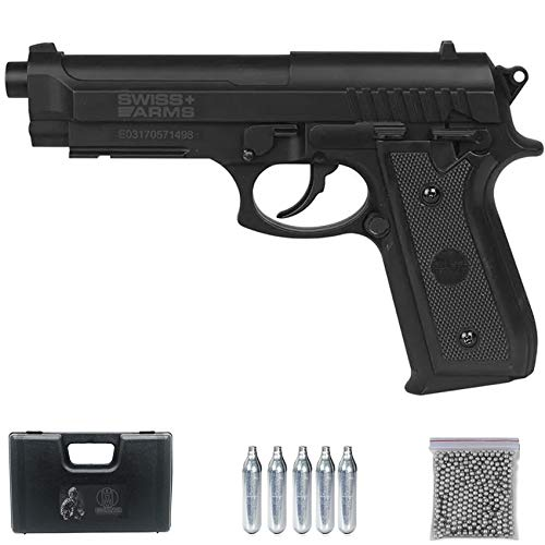 Ecommur SA P92 BAX CO2 Negra | Pistola de Aire comprimido de balines (Tipo perdigones: Bolas BB's de Acero) Calibre 4,5mm Tipo Beretta 92