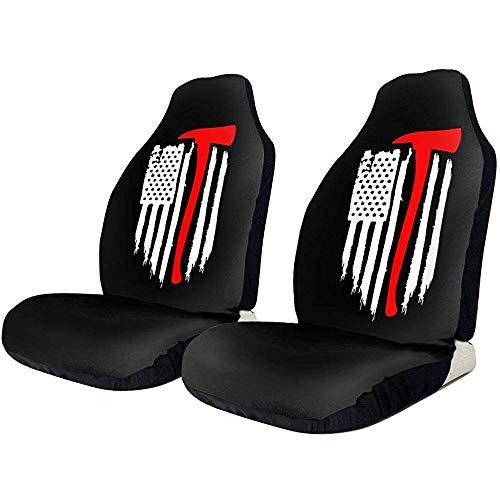 Alice Eva Bandera americana Bombero Maltés Cross Axe Fire Halligan Impresión 3D Funda de asiento de coche Tela de poliéster elástica Fundas de asiento delantero Negro para automóviles