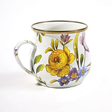 MacKenzie-Childs Flower Market Enamel Mug - White 3.5  tall / 16 oz.