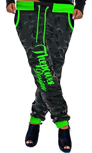 Cinc Damen Jogginghose Trainingshose Sporthose Hose Neon Power Sweatpants H.516 (Camou-Grün, S)