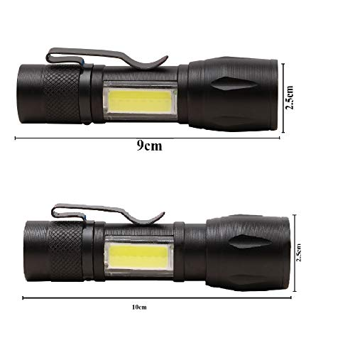USB XPE+COB LED Zoomable Flashlight Torch Lamp Linternas Built in Battery With USB Cable Gift Box Torch