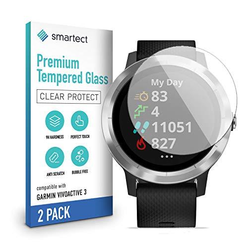 smartect Schutzglas kompatibel mit Garmin Vivoactive 3 [2 Stück] - Tempered Glass mit 9H Festigkeit - Blasenfreie Schutzfolie - Anti-Kratzer Bildschirmschutzfolie