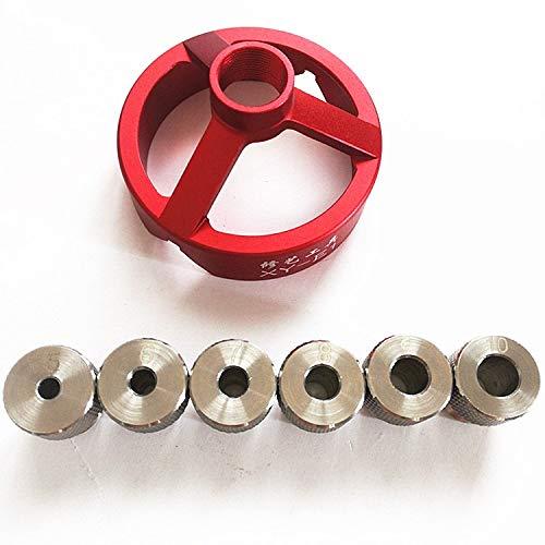 KONGZIR Aleación de aluminio de 90 grados del taladro Guía 3/4/5/6/7/8/9/10 mm Broca perforadora Locator Jig bisagras agujero abridor de tratar madera (Color : Red Set)