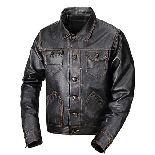 Dilusso Besting Sale Kunstlederjacke Herren Herbst Klassische Taschen Motorrad Lederjacken Mäntel Herren Markenkleidung Casaco Masculino-Black_XXXL