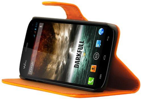 Mocca Design Luxe Schutzhülle für Wiko Darkfull (Kunstleder), Orange
