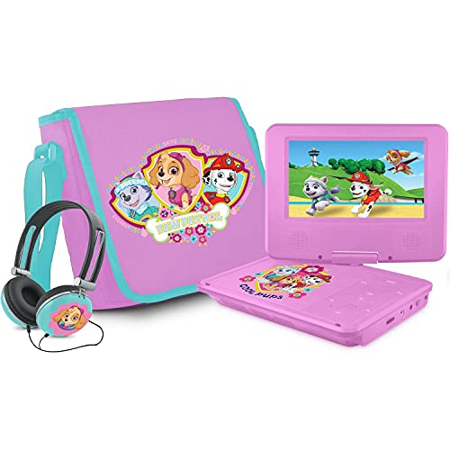 Ematic Nickelodeons Paw Patrol Theme 7-Inch Portable DVD Player with Headphones and Travel Bag, Pink