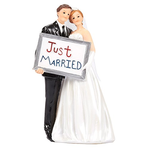 Juvale Wedding Cake Toppers - Bride Groom Cake Topper Figurines Holding Just Married Board - Fun Cake Topper for Wedding, Decorations, and Gifts - 3.3 x 5.8 x 2.25 Inches