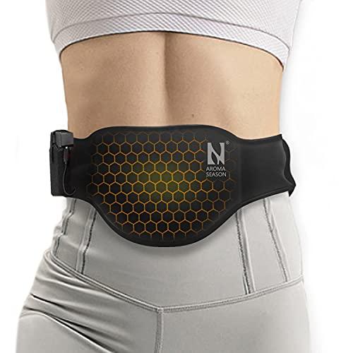 AROMA SEASON Heizkissen Heizgürtel Ferninfrarot (FIR) To Go mit 6h Akku für Bauch/Rücken/Lenden | Elektrisches Wärmekissen mit Abschaltautomatik