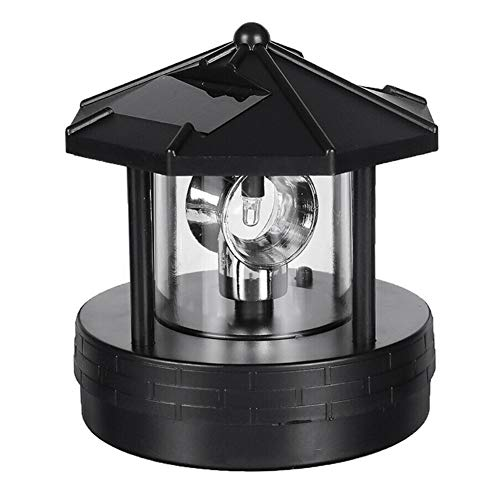 KOET Solar Lighthouse, LED Beacon Rotating Garden Lights, Outdoor Smoke Tower Lamp with 2 Solar Panels for Lawn Patio Yard Landscape Lighting Decorative